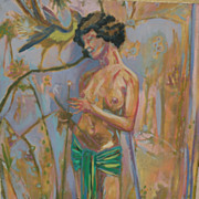 Contemporary American art interesting impressionist oil painting of a nude in a tropical or ga