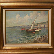 FRANCO RUOCCO 20th century Italian art impressionist painting of boats in a Mediterranean harb