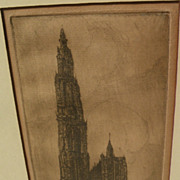 GALE TURNBULL (1886-1964) pencil signed etching of European church by American artist