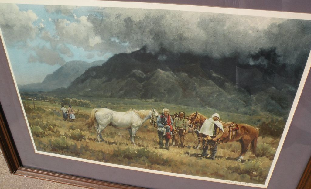 MELVIN CHARLES WARREN (1920-1995) Western American art pencil signed print by well listed artist