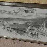 DAISY MARGUERITE HUGHES (1882-1968)  pencil sketch of boatyard dated 1965