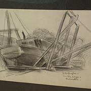 DAISY MARGUERITE HUGHES (1882-1968) pencil sketch of Provincetown boatyard