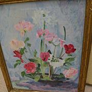 SALLIE HALL STEKETEE (1882-) impressionist floral still life by Indiana Hoosier Salon artist
