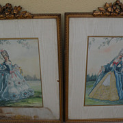 PAIR of ornately framed watercolor paintings of women in elegant 18th century costume by ...
