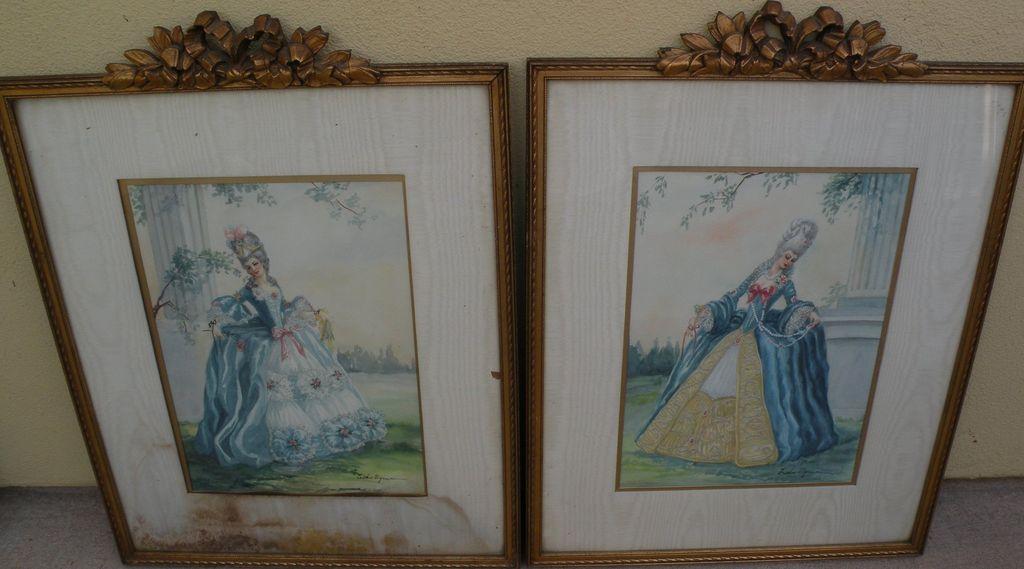 PAIR of ornately framed watercolor paintings of women in elegant 18th century costume by California illustrator artist ESTHER WYNN (-1990)