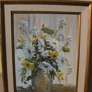 ARLEEN HUSEBY (1912-2009) California art floral still life painting by listed artist