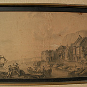 Antique signed circa 18th century ink old master style drawing of coastal harbor with ships, a
