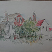 DAISY MARGUERITE HUGHES (1882-1968) charcoal landscape sketch with added color, of houses, ...