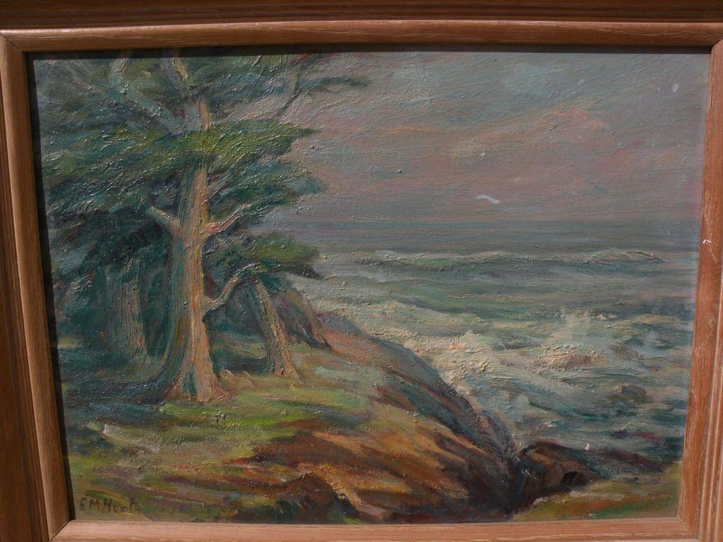 EDDA MAXWELL HEATH (1874-1972) Monterey California plein air art impressionist painting of cypress trees at the coast