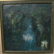 Signed circa 1960's surrealist painting with castle and bizarre dream-like figures