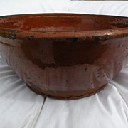 American 19th century redware ceramic bowl possibly Pennsylvania origin