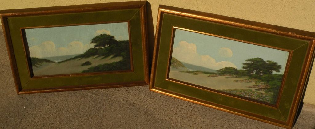 RICHARD DETREVILLE (1864-1929) California art **PAIR** of coastal dunes landscape painting