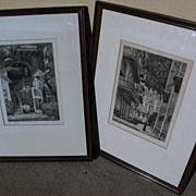 EUGENE F. LOVING (1908-1971) New Orleans Louisiana art **PAIR** original pencil signed etching