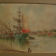 Antique late 19th century watercolor painting of sail and steam ships in a harbor