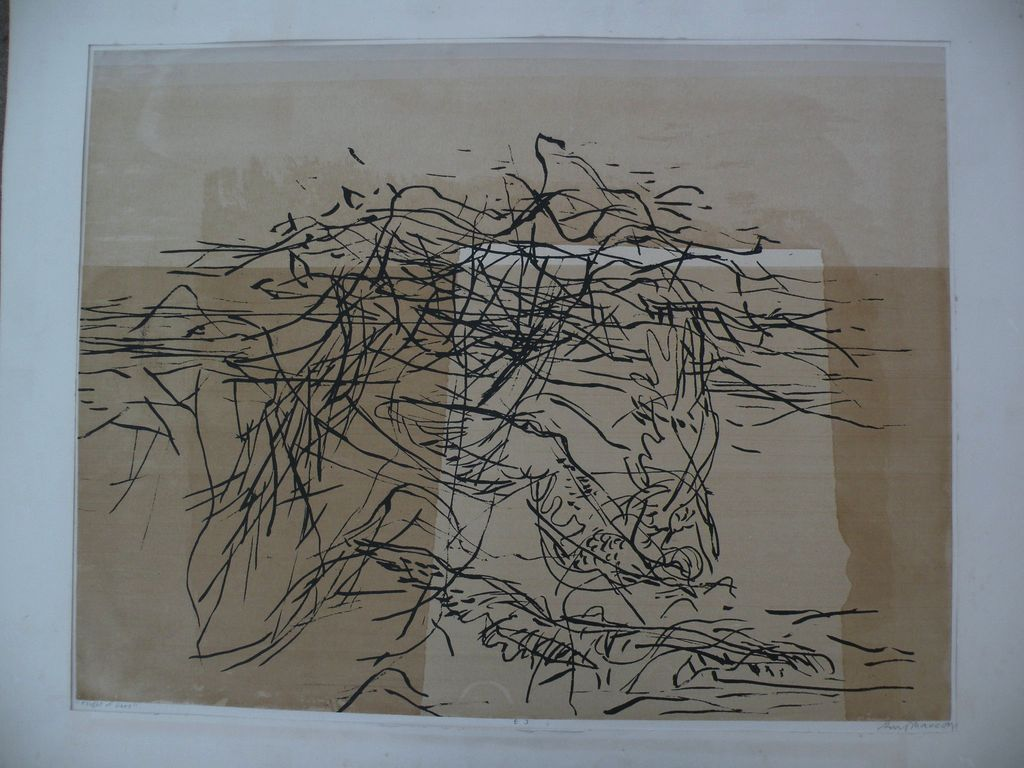 GUY MACCOY (1904-1981) pencil signed modern abstract serigraph by noted California graphic artist