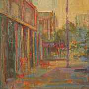 Contemporary signed street landscape painting