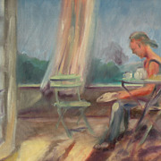 Contemporary American art impressionist painting of a seated figure on a breezy terrace