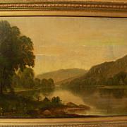 DANIEL CHARLES GROSE (1838-1900) 19th century American art early summer river landscape in Hud