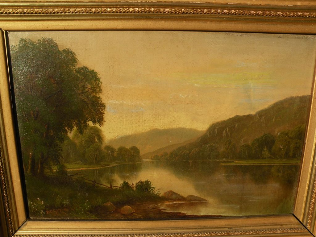 DANIEL CHARLES GROSE (1838-1900) 19th century American art early summer river landscape in Hudson River style