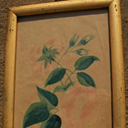 "American folk art early 19th century watercolor drawing ""Double Rose"""