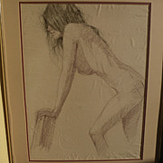 WALT GONSKE (1942-) charcoal and pencil drawing of a young nude woman by noted New Mexico list