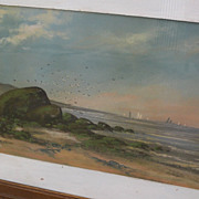 American 19th century pastel painting of New England coastline