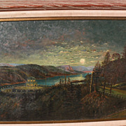 Northwest American art Oregon 1920 signed painting of Vista House at Crown Point on the ...