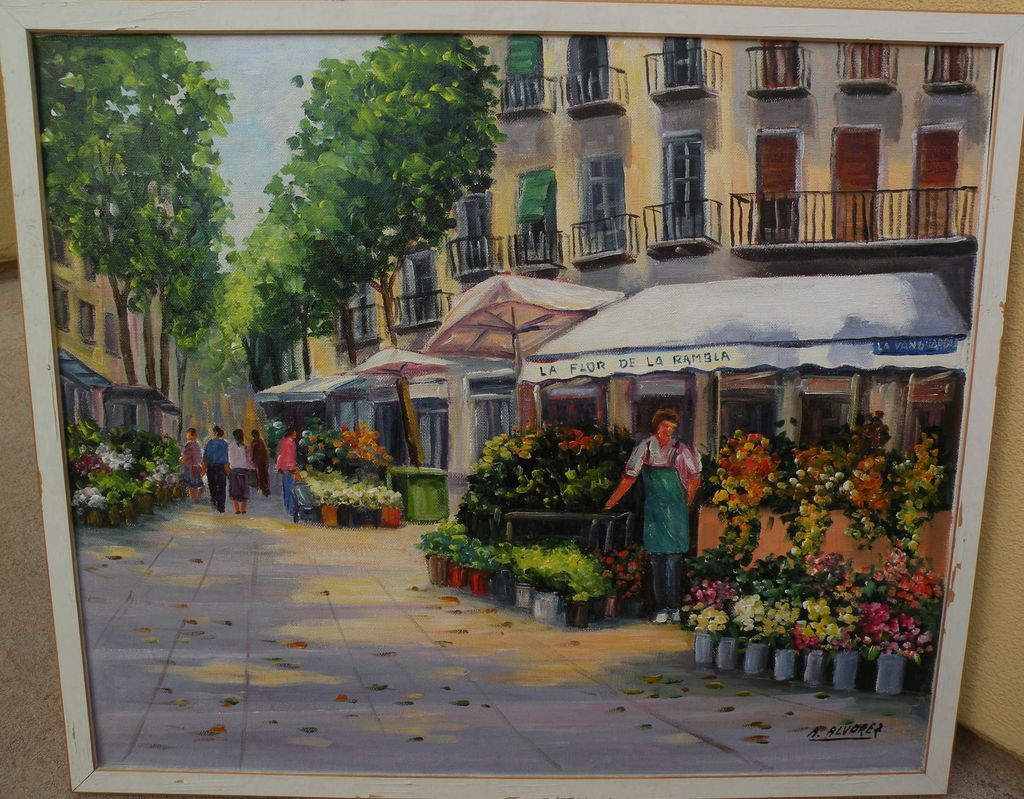 Colorful impressionist Spanish contemporary painting of flower stall in European town