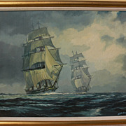 AUSTIN DWYER American marine art contemporary painting of clipper ships by noted contemporary