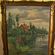 Vintage French impressionist signed painting of a home overlooking a pond signed and nicely ..