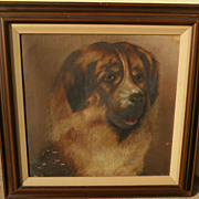 American folk art dog painting of a Saint Bernard circa 1880