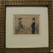 "JEAN-LOUIS FORAIN (1852-1931) plate signed etching ""Le Bouquet"" by well known French impressionist artist"