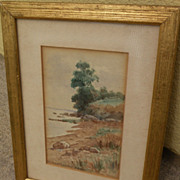GEORGES BECKER (c. 1845-1909) watercolor landscape painting by listed French artist