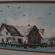 BRUCE SPICER watercolor painting of dockside buildings in a fishing port