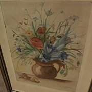 German art signed 1944 watercolor still life painting of wild flowers in a pitcher
