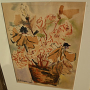CHINYEE contemporary Asian-American art 1970 watercolor still life painting by well exhibited