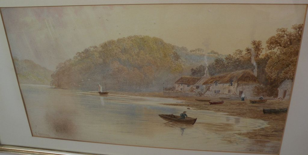 F. WALTERS 19th century English watercolor landscape painting of the River Dart