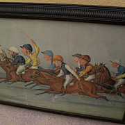 LIBERIO PROSPERI (1854-1928) 19th century English sporting art lithograph of horse race by noted Vanity Fair caricature artist