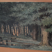 Circa 1890 Dutch watercolor of a forest interior signed ARTHUR DALLMER