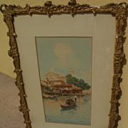 LUIGI BALDO (1884-1961) Italian art watercolor painting of Venice canal and gondola