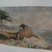 """SOLD EDWARD WILSON CURRIER (1857-1918) early California art watercolor painting of """"Lone"""