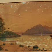 THOMAS RYAN (1864-1927) early New Zealand art watercolor landscape with figures dated 1886