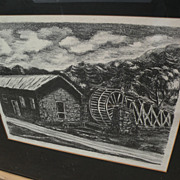 "KATHRYN S. MORROW New Mexico art pencil signed circa 1940's lithograph ""The Old Mill--Ruidoso, New Mex."""