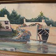 Vintage Bermuda art signed watercolor painting of Somerset Bridge dated 1942