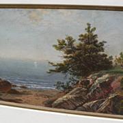 JOHN FREDERICK KENSETT (1816-1872) colored engraving of Beverly Massachusetts shoreline by the famous American luminist painter