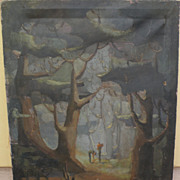 "Modernist large painting ""Forest Fantasy"" signed Graham circa 1940's"