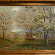 German 1920 signed oil painting of a traditional house in a forested landscape‏