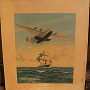 "Aviation memorabilia vintage PAN AM 1939 travel poster ""Yankee Clippers Sail Again"""