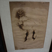 "JACQUES VILLON (1875-1963) pencil signed limited edition drypoint print of 1905 ""La Petite Boudeuse"""