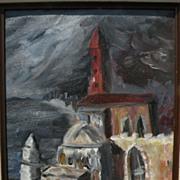 Jewish art signed impressionist painting of Israeli coastal landscape